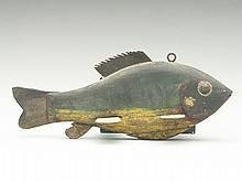 Very rare and unusual sunfish spearing decoy, maker unknown, Lake Chautauqua, New York, last quarter 19th century.