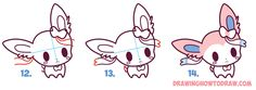 Learn How to Draw Sylveon (Baby, Cute Chibi, Kawaii Style) Sylveon from Pokemon in Simple Steps Drawing Lesson for Beginners
