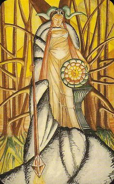 Princess of  Disks/Thoth Deck/ She is on the brink of significant change. She is Womanhood in its ultimate projection.
