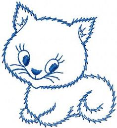cute kitty design embroidery. Machine embroidery design. www.embroideres.com