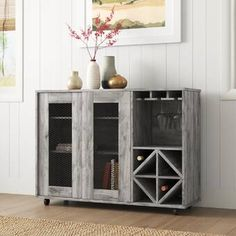Wade Logan® Isabell Bar with Wine Storage & Reviews | Wayfair Home Bar Cabinet, Wine Rack Storage, Countertop Materials, Wine Cabinets, Bar Furniture, Bars For Home, Wood Veneer, Engineered Wood, Table Linens