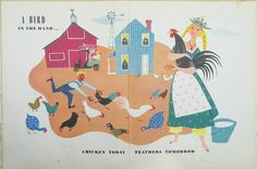 A Bird in the Hand vintage 1949 illustration page chicken rooster farm Alice and Martin Provensen via Etsy.