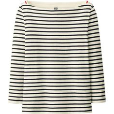 UNIQLO Striped Boat Neck 3/4 Sleeve T-Shirt found on Polyvore featuring polyvore, fashion, clothing, tops, t-shirts, black, 3 4 sleeve boatneck tee, black long sleeve tee, black t shirt and striped boatneck tee