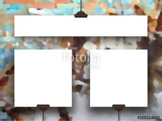 Close-up of three hanged square and rectangular paper sheets with clips on out of focus colourfully painted background