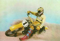 Bob Hannah Enduro Vintage, Vintage Motocross, Vintage Bikes, Dirt Bike Racing, Off Road Racing, Johnny Be Good, Side Car, Motocross Riders, Motorcycle Art