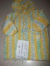 VT Handmade:  Infant Hoodie Sweater Jacket Yellow/White/Green/Beige