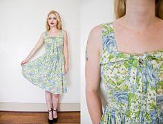 Vintage 1950s Dress  Floral Blue Cotton by dejavintageboutique