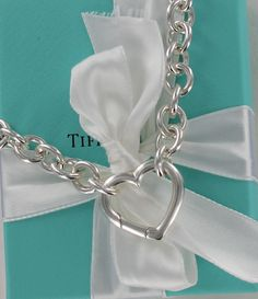 4417d4171 Tiffany & Co. Sterling Silver Heart Clasp Choker Necklace w/ Pouch, Box