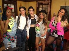 Fifth Harmony on the set of Faking It... go find their performance on YouTube. It was awesome. They sang a New Kids On The Block cover.