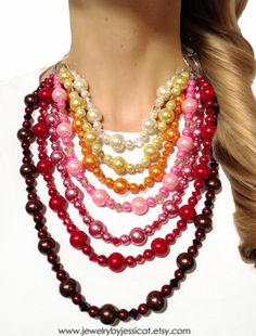 """Try out the """"ombre"""" trend in a statement necklace! From browns...to burgundy's...to reds...to pinks...to oranges...to yellows...to ivory! Perfect for Fall!    CLASSIC Statement Necklace Rainbow Red Orange by JewelryByJessicaT, $80.00"""