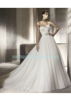 [£ 203.01] Tulle Strapless Sweetheart Neckline With A line Draped Skirt with Chapel Train 2012 Wedding Dress WD-1017