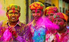 In India, they welcome spring in March by plastering each other with powdered pigments, during the festival of Holi, pictured