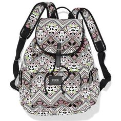 Pre-owned Pink Victoria's Secret Multi Aztec Print Full-size Backpack (195 AUD) ❤ liked on Polyvore featuring bags, backpacks, multi color, pink backpack, aztec pattern backpack, aztec bag, aztec backpack and pre owned bags