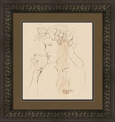 Michele Ross Framed Print featuring the drawing Coconut Cup -drawing by Michele Ross