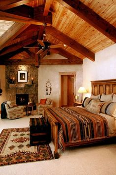 My second home. This beautiful southwestern bedroom is the perfect inspiration for decorating large and narrow western bedrooms. Southwestern Bedroom, Southwestern Decorating, Southwest Decor, Southwest Style, Western Bedrooms, Bedroom Rustic, Log Cabin Bedrooms, Western Bedroom Decor, Cowboy Bedroom
