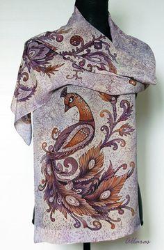 Hand Painted Silk Scarf Phoenix.Crepe De Chine. 35 x by Allaras