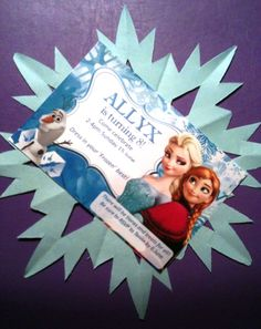 Add a cut-out snowflake to the back of an invitation for a Disney Frozen themed kids party. Party supplies by Easy Breezy Parties (Find out about their 'Frozen' party package in Melbourne, Australia, at http://easybreezyparties.com.au/party-packages/disneys-frozen-party.html) #frozen #easybreezyparties
