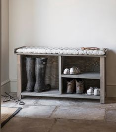 Welly Storage Bench - Aldsworth at STORE. Rustic storage bench with room to store 2 pairs of wellies and 4 pairs of shoes, walkin. Rustic Storage Bench, Entryway Shoe Storage, Boot Storage, Bench With Shoe Storage, Outdoor Storage, Kitchen Storage, Small Shoe Bench, Shoe Storage Shelving, Rustic Furniture Stores