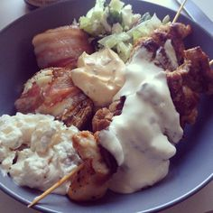 """This summer we had some BBQ with """"false potato salad"""" #lchf"""
