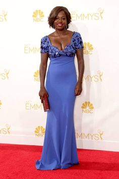 Love this sapphire blue color on Viola Davis #Emmys