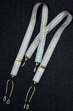 1900's TEXTURED PATTERN STRIPE CANVAS PULLEY SUSPENDERS/BRACES - METAL SPRING TYPE BUTTON ATTACHMENT -- Available for sale at rpvintage.com.