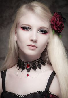 Gothic choker SINISTRA Ruby red lace choker Swarovski crystal drop and elegant draped chains