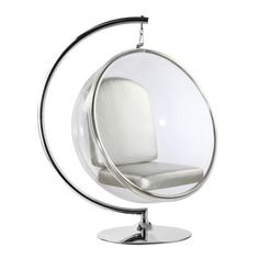 Spread a futuristic aesthetic throughout your modern space with this hanging bubble chair, reinforced by a lustrous, polished chrome frame and stand.Includes one stand, one bubble chair and one silver W x H x DPolished chromeImported Bubble Chair, Acrylic Chair, Silver Cushions, White Cushions, Ball Chair, Egg Chair, Cozy Chair, Steel Rims, Soap Bubbles