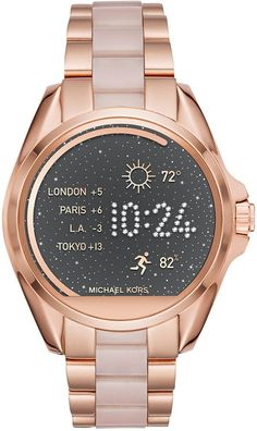Michael Kors Women's Access Bradshaw Digital Rose Gold-Tone Stainless Steel and Blush Acetate Bracelet Smart Watch 44mm MKT5013
