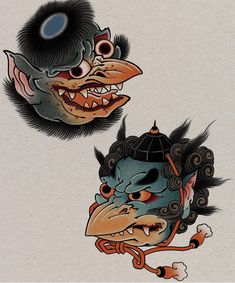 Japanese Mask Tattoo, Japanese Tattoo Designs, Japanese Sleeve Tattoos, Japanese Drawings, Japanese Artwork, Traditional Japanese Tattoo Flash, Japanese Mythical Creatures, Japan Painting, Face Painting Tutorials