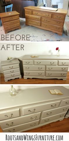 A dresser makeover by Jenni of Roots and Wings Furniture. Dresser painted in a custom color mix of General Finishes Milk Paint. Hardware redone with Rub N Buff in Antique White.