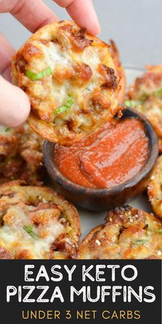 These easy Keto Pizza Muffins are loaded with Italian sausage, marinara and cheese! These gluten free, keto-friendly pizza bites have less than 3 net carbs each and are perfect for meal prep!  #keto #appetizer #lowcarb Ketogenic Recipes, Low Carb Recipes, Cooking Recipes, Easy Cooking, Vegan Recipes, Keto Snacks, Healthy Snacks, Keto Dinner, Healty Dinner