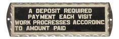 """1930's Reverse Painted Glass """"Deposit Required"""" Sign on Chairish.com Cottage Office, 1930s, Signs, Glass, Drinkware, Shop Signs, Corning Glass, Yuri, Sign"""