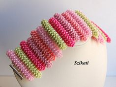 FREE SHIPPING Coral/Green Seed Bead Statement Bracelet by Szikati