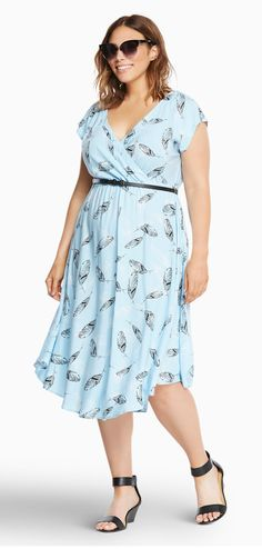 Plus Size Feather Print V-Hem Challis Dress