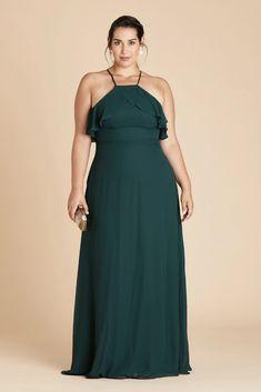 Jules Plus Size Chiffon Bridesmaid Dress in Emerald – Birdy Grey Emerald Green Bridesmaid Dresses, African Bridesmaid Dresses, Mismatched Bridesmaid Dresses, Wedding Bridesmaids, Wedding Gowns, Prom Dresses, Full Length Gowns, Blue Wedding, Wedding Bells
