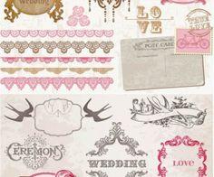 Wedding decorative frames and borders vector