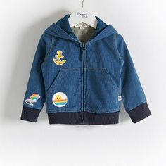The Bonnie mob - The Life Aquatic. BANDIT Cotton Pale Denim Baby and Kids Unisex Hoodie with Badges. Super comfy stretch pale denim terry hoodie with kangaroo style front pockets. Comes with our iron on badges for a customisable unique look. Iron On Badges, The Bonnie, Spring Summer 2016, Jeans, Nike Jacket, Baby Kids, Kids Fashion, Life Aquatic, Unisex