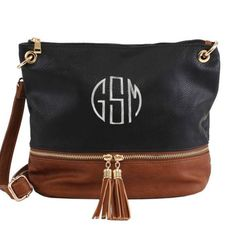 Monogram Crossbody Bag | Leather Purse | Leather Bag | Shoulder Bag | Embroidered Clutch Purse |