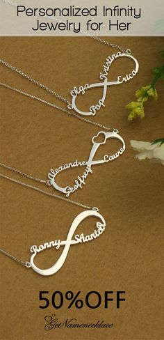 Bling Personalized Infinity Name Necklace Custom 1-8 Names Bling NameNecklaces Any Name Promise Necklaces for Women Mothers Day Necklace for Mom