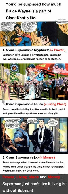 9GAG - Batman owns Superman a lot!
