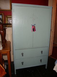 Retro vintage tallboy in distressed and waxed duck egg blue...