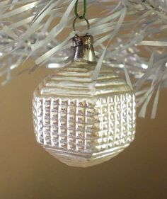 $65 - 1900s-1910s Antique Germany Mercury Blown Glass Hexagon Christmas Ornament - Super Rare! . . . Superb unusual six sided silver-white sphere with geometric patterns of lines and squares. Unique and hard to find!