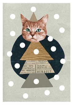 Cat tree Christmas Card | Mathilde Aubier