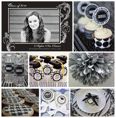 Black and white graduation party theme