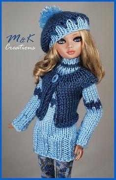 Barbie Knitting Patterns, Knitting Dolls Clothes, Knitted Dolls, Crochet Dolls, Crochet Clothes, Crochet Hats, Barbie Kids, Barbie And Ken, Doll Clothes Barbie