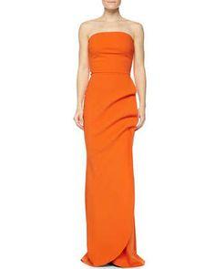 Clotilde+Sleeveless+Long+Gown,+Orange++by+La+Petite+Robe+di+Chiara+Boni+at+Neiman+Marcus.