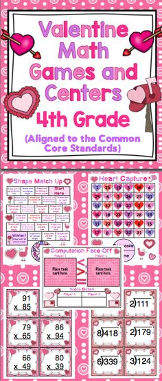 Valentine's Day Math Games (4th Grade) Your students will love this collection of Valentine's Day themed math games!