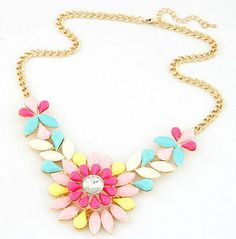 The perfect DYT Type 1 statement necklace! Good price too! Bright Candy Colors Flower Statement Necklace