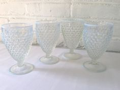 Fenton French Opalescent Hobnail Goblets by VintageTakes on Etsy