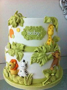 Let us enter the world of baby shower cakes ideas, a world that knows no boundaries. Read Baby Shower Cake Ideas For Your Special Day Baby Shower Themes, Baby Boy Shower, Baby Shower Decorations, Safari Baby Shower Cake, Shower Ideas, Jungle Theme Baby Shower, Shower Centerpieces, Baby Cakes, Diaper Cakes